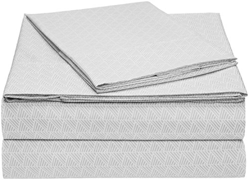 AmazonBasics Microfiber Sheet Set - Twin, Grey Crosshatch, 4-Pack
