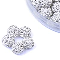 iCherry(TM) 12mm 100pcs/Lot White Clay Pave Disco Ball for Rhinestone Crystal Shamballa Beads Charms Jewelry Makings