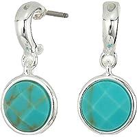Ralph Lauren Womens Turquoise Stone Huggie Earrings