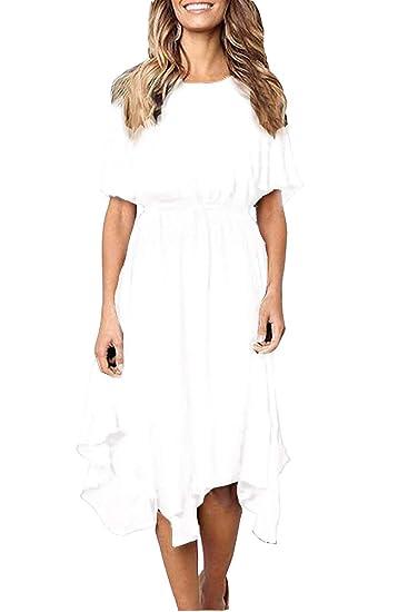 a68ec431d0361 Robe en Mousseline de Soie pour Femmes à Manches Courtes Robe midi pour  soirée/Cocktail/soirée/Casual/Vacances: Amazon.fr: Vêtements et accessoires