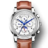 Brand Men's Automatic Mechanical Watch Day, Date, Month, and 24 Hour Time Indication Calfskin Band Watch