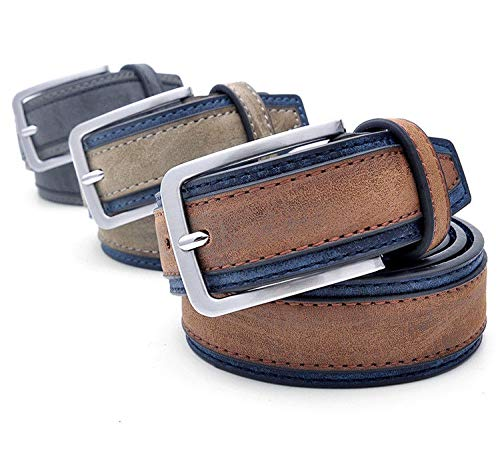 FidgetFidget Men Casual Belts Fashion Patchwork Designers Luxury Trends Trousers Waist Strap LightBrownNavy 120cm 40to43 Inch