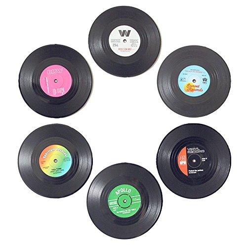 homEdge Vinyl Record Coasters, 6 Pieces of Retro Style Vinyl Coasters