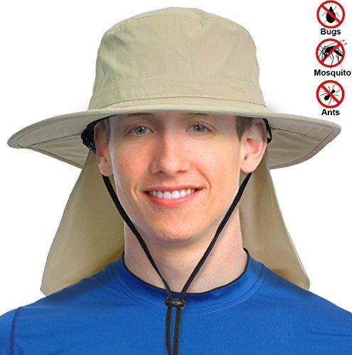 Solaris Unisex Outdoor Safari Hat w/ Wide Brim Sun UV Protection Neck Flap Hiking Fishing Cap for Bug Free (Khaki)