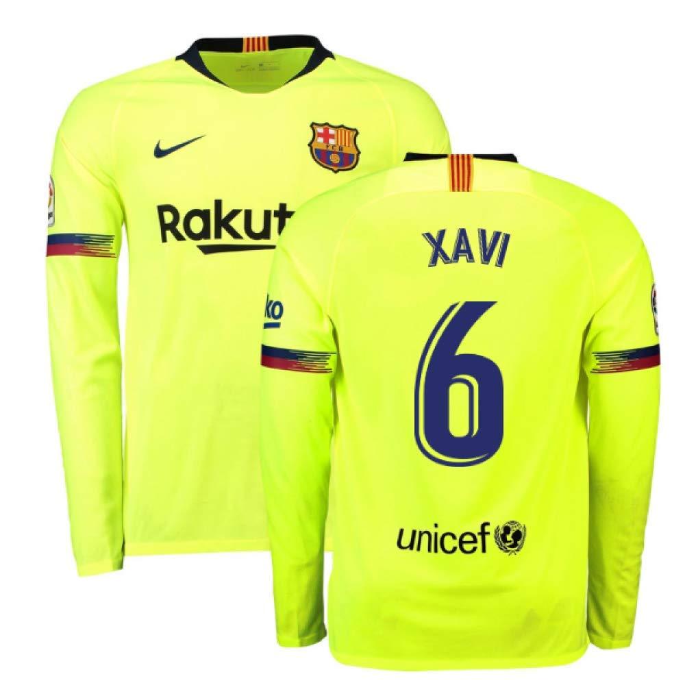 2018-2019 Barcelona Away Nike Long Sleeve Football Soccer T-Shirt Trikot (Xavi 6)