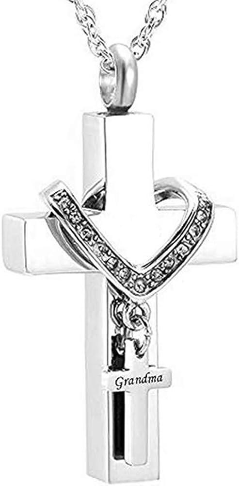MEMORIALU Cross Urn Necklaces for Ashes Cremation Crucifix Keepsake Memorial Pendant Necklace