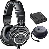 Audio Technica ATH-M50X Professional Studio Headphones (Black) Bundle with Bonus Slappa HardBody Pro Headphone Case Plus Indigo Portable Headphone Amplifier w/ Bass Boost EQ