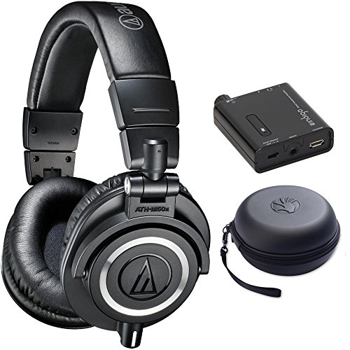 Audio Technica ATH-M50X Professional Studio Headphones (Black) Bundle with Bonus Slappa HardBody Pro Headphone Case Plus Indigo Portable Headphone Amplifier w/ Bass Boost EQ by Audio-Technica