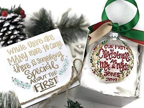 Amazon Com Hand Painted Our First Christmas Married Ornament With