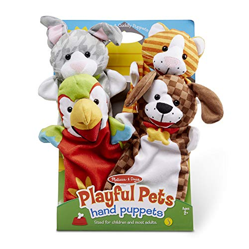 Melissa & Doug Playful Pets Hand Puppets, Puppet Sets, Rabbit, Parrot, Kitten, and Puppy, Soft Plush Material, Set of 4, 14