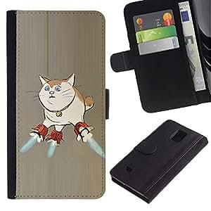 KLONGSHOP / Tirón de la caja Cartera de cuero con ranuras para tarjetas - Cat Space Ship Art Super Powers Funny Art - Samsung Galaxy Note 4 SM-N910