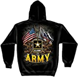 Armed Forces Hooded Sweatshirt, 100% Cotton Casual Men's Shirts, Show Your Pride with Our US Army Double Flag Long Sleeve Sweatshirts for Men or Women (X-Large) Black