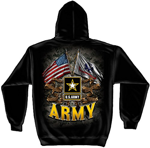 Erazor Bits US Army Hoodie | Army Double Flag US Army Hooded Sweat Shirt MM2151SW