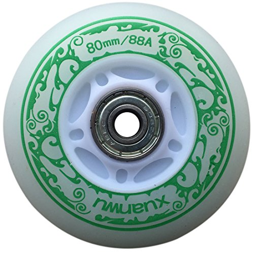 you-beat-you-land Light Up Led Inline Skates Pu Wheels Outdoor and Indoor Rubber Wheels Pack of 4 Green-72mm