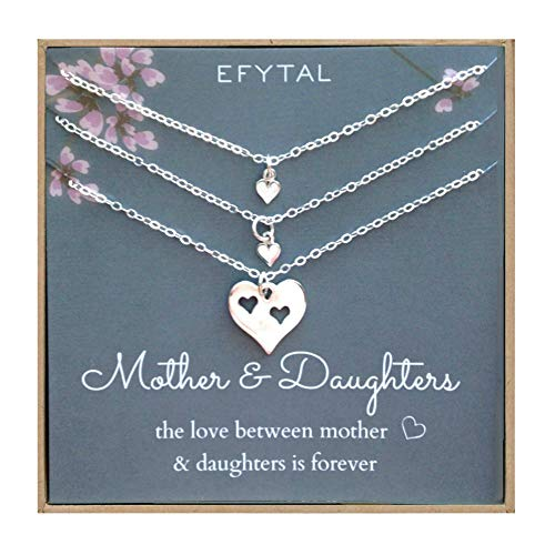 EFYTAL Mother of Two Daughters Set of 3 Necklaces, Sterling Silver Heart Cutout ()