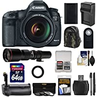 Canon EOS 5D Mark III Digital SLR Camera with EF 24-105mm L IS USM Lens with 500mm Telephoto Lens + 64GB Card + Grip + Battery & Charger + Backpack + Monopod Kit