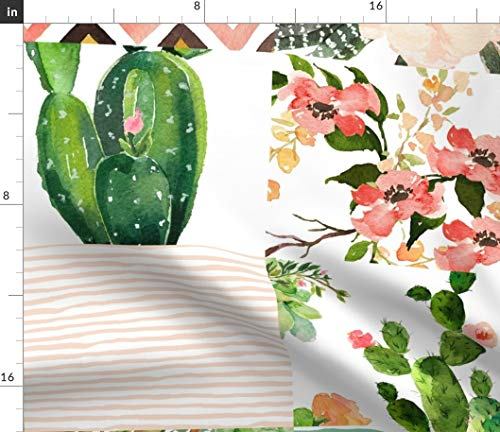 Spoonflower Cheater Quilt Fabric - Western Floral Whole Cloth Cactus Blush Pink Green Boho Baby Girl Bedding Print on Fabric by The Yard - Fleece for Sewing Blankets Loungewear and No-Sew Projects