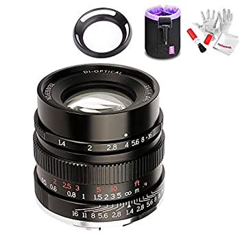 Image of 7artisans 35mm F1.4 Full Frame Manual Fixed Lens for Sony E-Mount Cameras A7 A7II A7R A7RII A7S A7SII A6500 A6300 A6000 W/Lens Pouch Bag &Antistatic Gloves,Black Mirrorless Camera Lenses