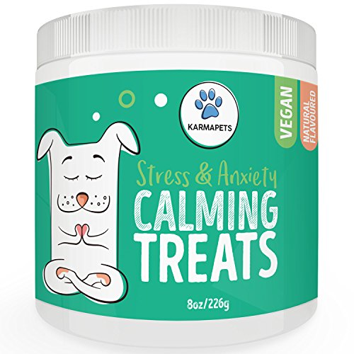 KarmaPets Calming Treats for Dogs – Hemp Oil Infused for Anxiety Relief | Organic Vegan Dog Supplement | Soft Chews w/Valerian Root for Separation, Thunder Storms, Stress, Fear, Travel, Barking+
