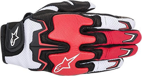 NEW ALPINESTARS FIGHTER AIR ADULT LEATHER GLOVES, WHITE/RED/BLACK, LARGE/LG