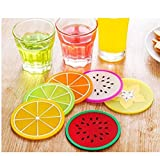 Design a Kitchen Bar AnnyMart Fruit Slice Silicone Coaster ,Unique&Eye Catching,Especially Design for Your Bar,Kitchen and Patio,Set of 6