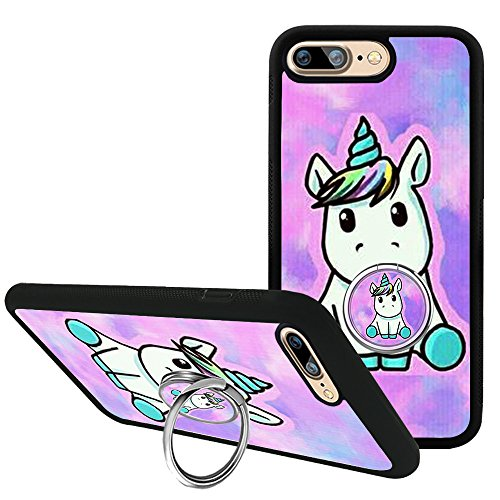 iPhone 7 Plus/iPhone 8 Plus Case with Kickstand, Fashion Cartoon Unicorn Bumper Protective Case for iPhone 7 Plus/8 Plus 5.5 with Rotating Ring Holder Grip