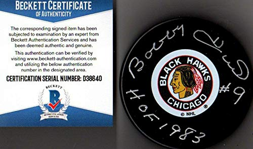 - Autographed Bobby Hull Puck - Beckett bas #9 Hof 1983 40 - Beckett Authentication - Autographed NHL Pucks