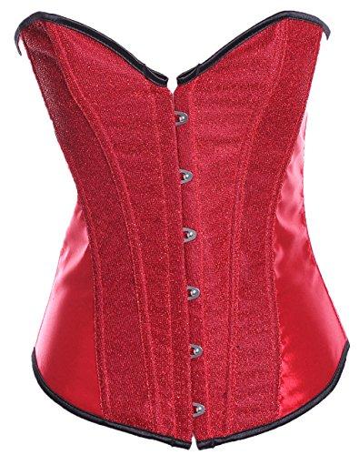 ZAMME mujers Jacquard Stripe Sexy Sin espinas Corsé Con tanga Rojo