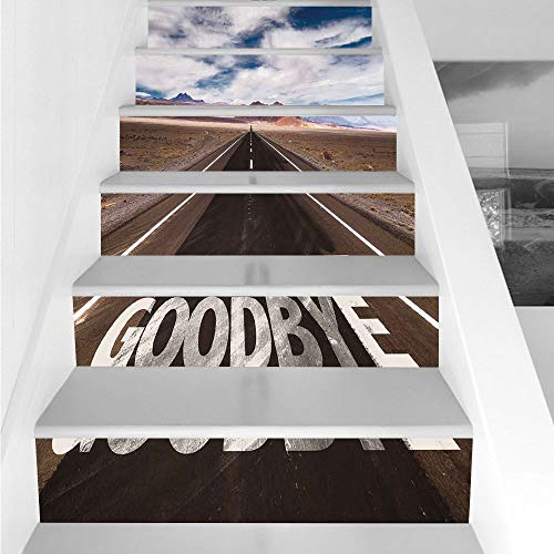 Stair Stickers Wall Stickers,6 PCS Self-adhesive,Going Away Party Decorations,Goodbye Written on Asphalt Road Highway City Urban Words,Brown Blue White,Stair Riser Decal for Living Room, Hall, Kids Ro -