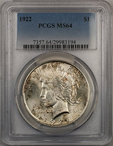 1922 Peace Silver Dollar Coin $1 PCGS MS-64 Light Toning (2D)