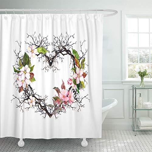 Semtomn Shower Curtain Waterproof Polyester Fabric 66 x 72 inches Heart Shape Branches Apple Blossom Sakura Flowers Watercolor Floral with Set with Hooks Decorative Bathroom Curtains