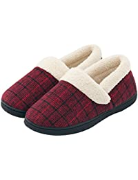 Women's Woolen Fabric Plaid House Slippers, Anti-Slip Breathable Indoor/Outdoor Shoes