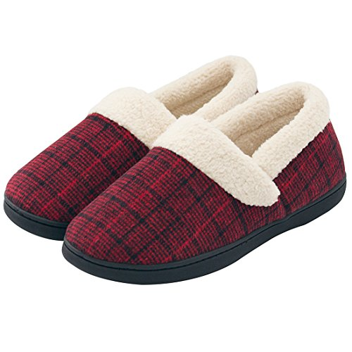 56d57801e HomeIdeas Women's Woolen Fabric Plaid House Slippers, Anti-Slip Autumn  Winter Indoor/Outdoor Shoes (7-8 B(M) US, Wine) - Buy Online in Oman.