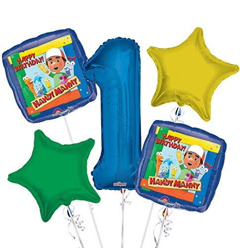 Handy Manny Balloon Bouquet 1st Birthday 5 pcs - Party (Handy Manny Birthday Party Supplies)