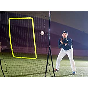Powerfly Baseball Trainer - Practice Pitchback Net for Pitching Hitting Batting Throwing - 68x48in Youth Multi-Angle Ball Return Rebounder - Softball Pitch Back Training Equipment with Strike Zone