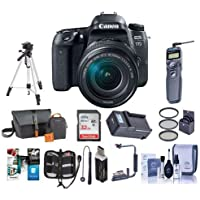 Canon EOS 77D DSLR with EF-S 18-135mm F3.5-5.6 IS USM Lens - Bundle With 32GB SDHC Card, Camera Bag, Tripod, Compact Charger, Remote Shutter Release, Flip Flash Bracket, Software Package And More
