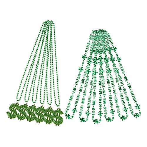 12-Pack Shamrock Beads Mardi Gras Necklaces Set - for St.Patrick's Day Decoration or Mardi Gras Costume Wear, 6 Green Dollar Sign Bead Necklaces, 6 Green Bead Letter Ornament (Dollar Sign Bead)