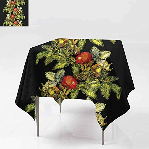 Square Tablecloth,Rosehip Seamless Pattern Border on Black Background for Events Party Restaurant Dining Table Cover 36x36 Inch