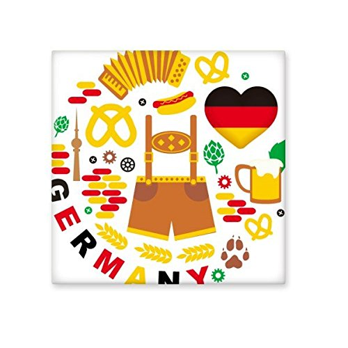 chic Germany Customs Landmark Flag Diet Clothing Culture Illustration Pattern Ceramic Bisque Tiles for Decorating Bathroom Decor Kitchen Ceramic Tiles Wall Tiles