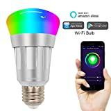 Kimitech Smart Bulb Alexa WiFi LED Light Bulbs 6000K RGB Multi Color Dimmable No Hub Required Compatible With Alexa For IOS/Android /iPhone/iPad