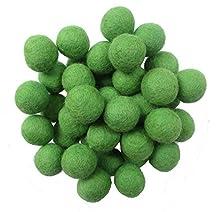 2cm 20mm Wool Felt Balls Beads 100% Natural Wool Felting Woolen Felted Fabric for Home Decor Dream Catcher DIY Baby-Mobile Garland Crafts Handcrafts Project DIY (Grass Green 50pcs)