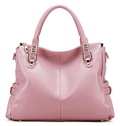 AINIMOER Shoulder Pink Tote Capacity Handbags Top Genuine Bag Purse Leather Crossbody Large Womens handle Ladies' Vintage 1wrX1q