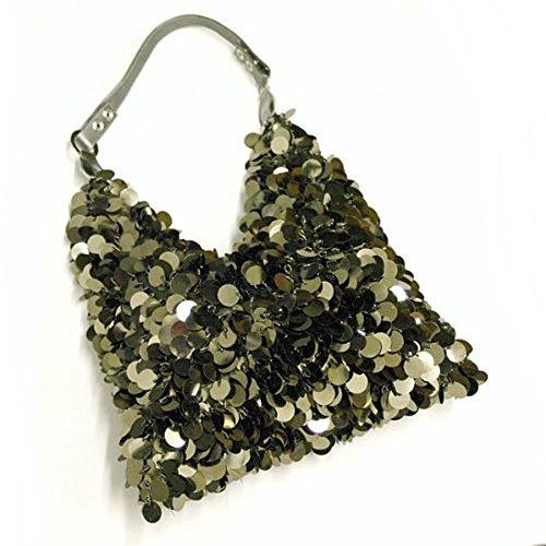 Beaded Hobo Purse Handbag - Fashion Hobo Beaded Sequin Leather Handle Shoulder Handbag - Vintage Gunmetal