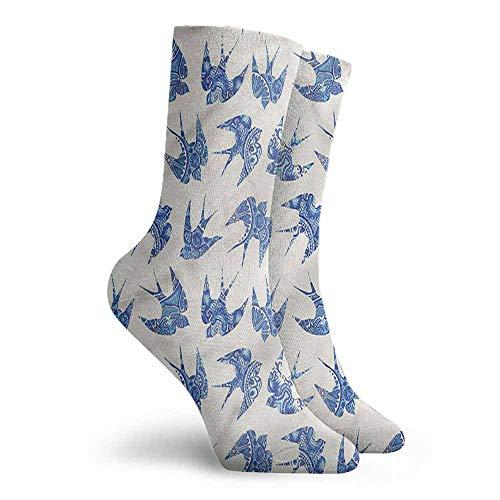 (High Ankle Crew Socks Animal Sparrow Birds Antique Mosaic Hiking Walking Socks)