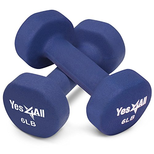 Yes4All 6 lbs Dumbbells Neoprene with Non Slip Grip – Great for Total Body Workout – Total Weight: 12 lbs (Set of 2)