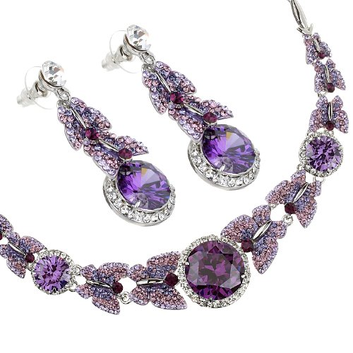 Finest Swarovski & Czech Crystals Butterflies Jewellery Set. A necklace of Butterflies and Large stunning Czech Crystals; Crystals shower the entire garland jewelry. Dangling Matching earrings. Amazing price! 4 colour options Clear on Rhodium or 14K gold, Choose colour option in
