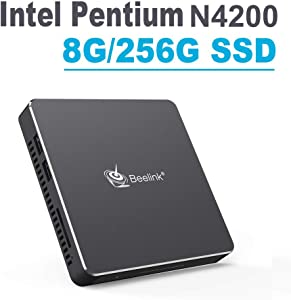 Beelink Mini PC,T45 Windows 10 Intel Pentium N4200 (up to 2.5GHz) Ultra-Thin Mini Computer,8GB DDR3/256GB SSD,DIY SSD,Dual HDMI Port,4K HD,Dual WiFi,Support Auto Power On, PXE Boot, WOL, RTC Wake