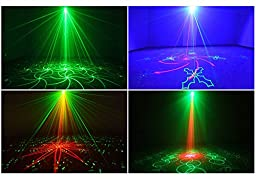 Buwei Laser Stage Light 40 Patterns Red Green Laser Blue LED Lighting Show Projector Sound Activated Dj Dance Lights for Disco Night Club Home Party Wedding Christmas Festival Stage