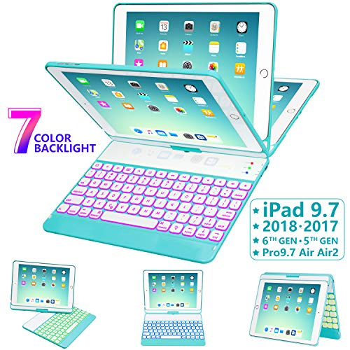 iPad Keyboard Case 9.7 for iPad 2018 (6th Gen) - 2017 (5th Gen) - iPad Pro 9.7 - iPad Air 2 & 1, 7 Color Backlit Keyboard Case/360 Rotate Wireless/BT Keyboard Case with Auto Sleep/Wake (Tiffany Blue) (Tiffany Blue Clipboard)