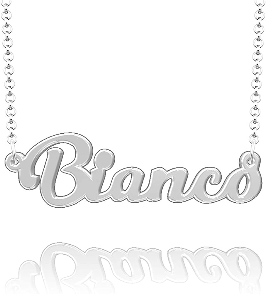 CLY Jewelry Personalized Last Name Necklace Custom Sterling Silver Bianco Plate Customized Gift for Family